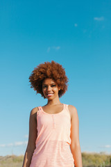 Latin American Afro Woman in a Radiant Summer Day