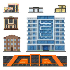 City buildings modern tower office architecture house business apartment home facade vector illustration