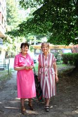 Two senor women outdoors