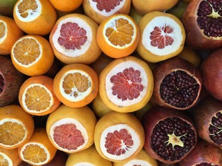 Pomegranates, Oranges and Grapefruits