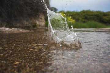 Water splash in a small stream.
