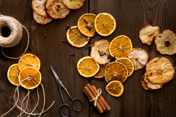 Fragrant homemade orange Christmas wreath ingredients