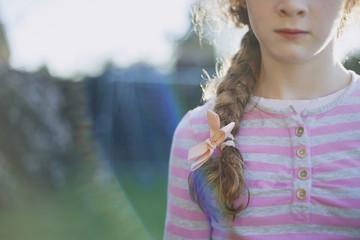 Portrait of a girls braid