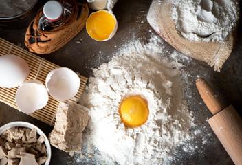 Baking ingredients - milk, eggs, flour, oil. Dough preparation