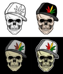 Skull Wearing Rasta hat, drawing skull with 4 style color