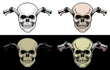 Handlebar Motorcycle With Skull Head, Drawing Skull with 4 style color