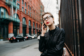 Attractive young woman on her cell phone