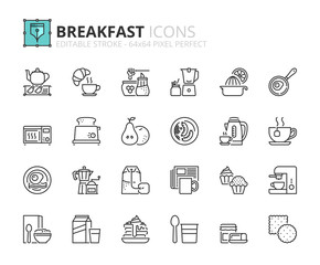 Outline icons about breakfast