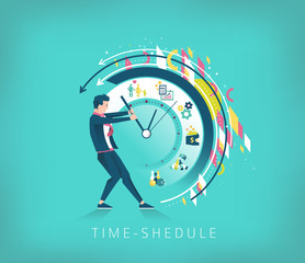 Businessman trying to stop the time. Searching best time-shedule
