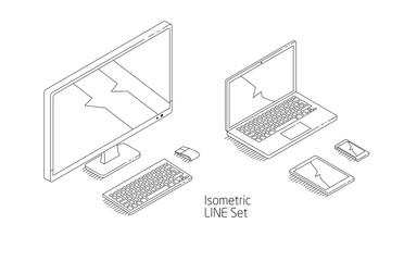 Isometric set of  computer, mobile phone, tablet, laptop.