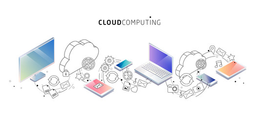 Isometric concept of cloud computing. Cloud network and services.