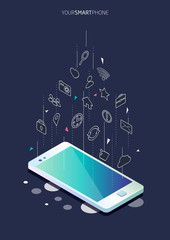 Isometric concept of smartphone with different applications, on-line services and stationary options.