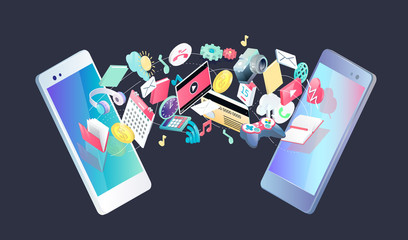Isometric concept of exchange between  smartphones.