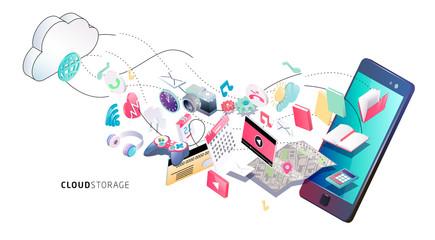 Information exchange between cloud and phone.