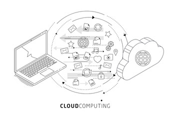 Information exchange between cloud and laptop.