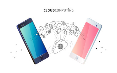 Information exchange between cloud and phones.