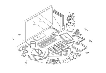 Isometric concept of workplace with computer and office equipment.