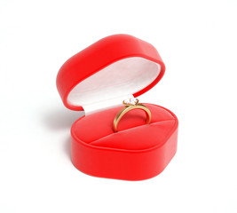 red box and gold ring with diamonds