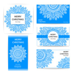 Set of banners with floral Indian ornaments can be used as greet