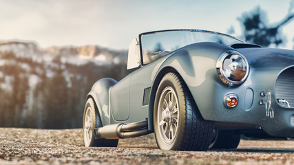 Classic car parked in the mountains in the morning. 3d render and illustration. Wall mural