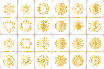 Vector templates with gold and white mandala. Geometric logo template set. Grunge paper card with gold floral circular pattern