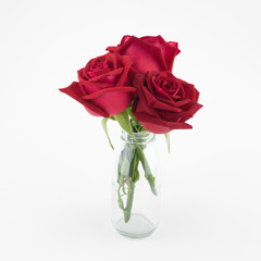 Red roses bouquet in glass vase on white background
