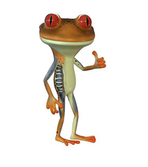 3d illustration of a brown cartoon frog giving thumbs up.