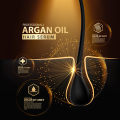 argan oil hair care protection illustration