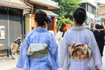 Japanese women wearing Yukata