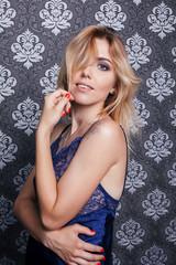 beautiful, elegant sexy girl with big breast blue peignoir