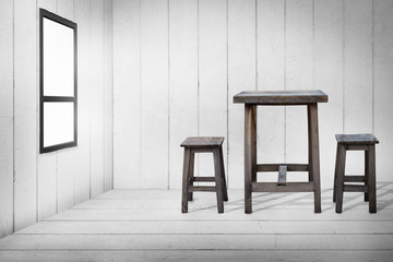 Old wooden table and old wooden chairs in wooden room, wooden floor and wooden wall with glass windows