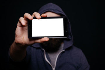 Hipster man beard taking picture smartphone self-portrait, screen view