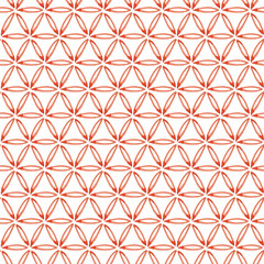 Hand painted seamless watercolor pattern with abstract ornament. Abstract watercolor ornament in coral red. Seamless pattern with watercolor circles. JPG