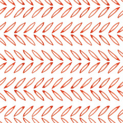 Hand painted seamless watercolor pattern with abstract horizontal lines of leaves. Abstract watercolor leaves in coral red. Seamless pattern with watercolor horizontal lines of leaves. JPG