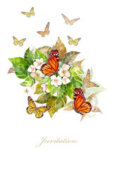 invitation card with butterflies on apple blossom. watercolor painting