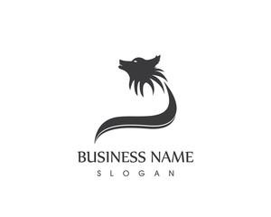 Black Silhouette Wolf Head Logo Design