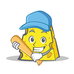 cheese character cartoon style with baseball