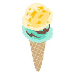 vector illustration of an ice cream with simple touch