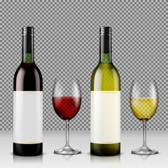 Set of realistic vector illustration of glass wine bottles and glasses with white and red wine, isolated, with reflection. Template, moc up, layout for design, branding, advertising