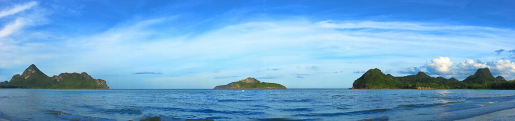 Panoramic view of tropical paradise sea and mountain range with beautiful blue sky at Manao bay , Prachuap Khiri Khan , Thailand.