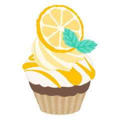 vector illustration of a cupcake with simple touch