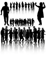 Vector, isolated, set of people dancing silhouette, disco