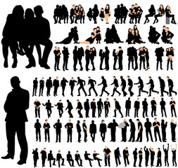 Vector, isolated, set of people, collection of silhouettes