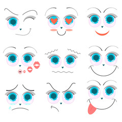 Emoji faces with big blue eyes, cartoon emotions.