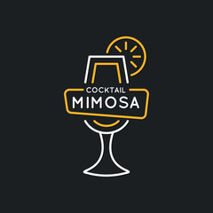 Illustration for bar menu alcoholic cocktail Mimosa. Vector line drawing of a Drink on a background.