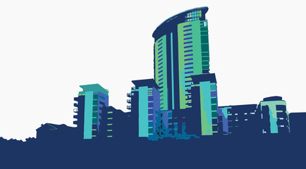 Vector Swansea Marina Skyline Blues Illustration