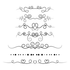 Set of decorative swirls elements, dividers, page decors. Hand drawn vector ornaments with heart.