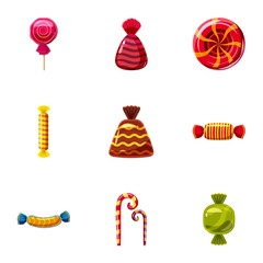 Popular sweets icons set, cartoon style