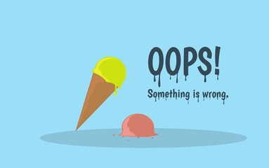 Oops error page with melting ice cream. Flat cartoon illustration
