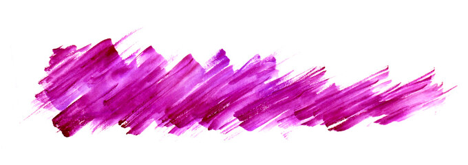 Watercolor line of  pink paint, splash, smear, blot, zigzag. abstraction. Used for a variety of design and decoration. Strokes of paint, zigzag, lines, splash. Horizontal line